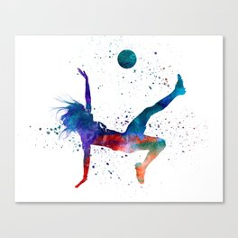Woman soccer player 08 in watercolor Canvas Print