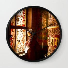 Tibetan Buddhist of Boudhanath Stupa, Kathmandu, Nepal Wall Clock