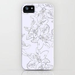 lavender line art floral pattern iPhone Case