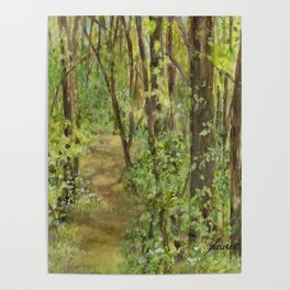 Wooded Path Watercolor Landscape Detailed Realism Poster