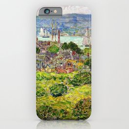 Classical Masterpiece 'Gloucester Harbor' by Frederick Childe Hassam iPhone Case