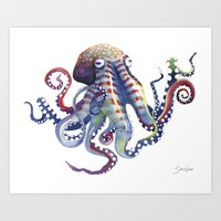 octopus Art Prints featuring Octopus by Sam Nagel