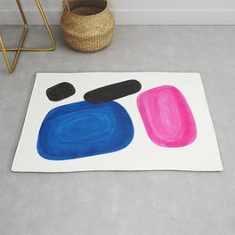 Colorful Minimalist Pop Art Mid Century Modern Style Rose Magenta Phthalo Blue Bubbles Rug