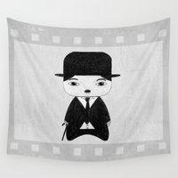 alisa burke Wall Tapestries featuring A Boy - Charlie Chaplin (B&W) by Christophe Chiozzi
