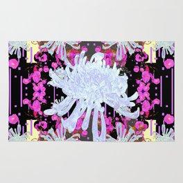 Black & Grey  Decorative Modern White Mums Patterns Flowers Rug