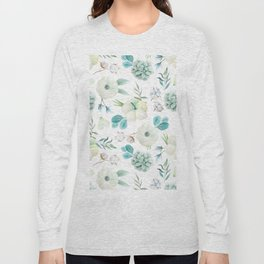 Trendy white blue teal hand painted watercolor flowers Long Sleeve T-shirt