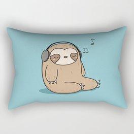 Kawaii Cute Sloth Listening To Music Rectangular Pillow