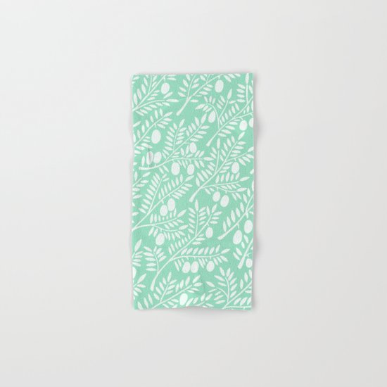 Mint Olive Branches Hand & Bath Towel