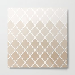 Pastel elegant brown cream quatrefoil pattern Metal Print