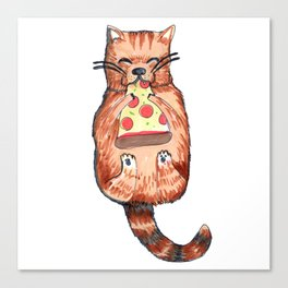 cat eating pizza Canvas Print