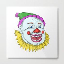 Vintage Circus Clown Smiling Drawing Metal Print