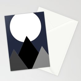 Mountains & Moon In Night Sky Stationery Cards