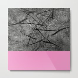 Enter Pink - Black And White Abstract Mixed Media + Block Pink Metal Print