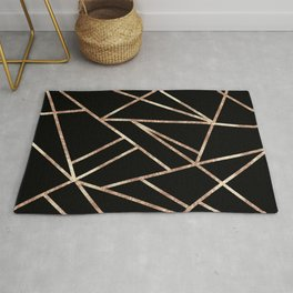 Classic Black Rose Gold Geo #1 #geometric #decor #art #society6 Rug