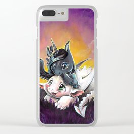 Sunset friends, Unicorn and Dragon Clear iPhone Case