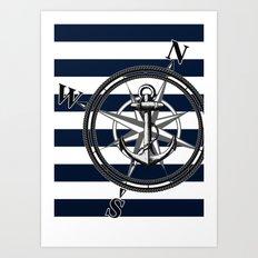 Navy Striped Nautica Art Print