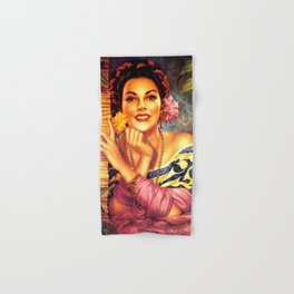 Jesus Helguera Painting of a Mexican Girl Beside Rattan Curtain Hand & Bath Towel