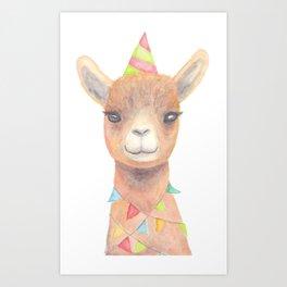 Birthday Llama Art Print