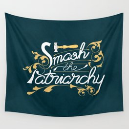 Smash the Patriarchy Feminist Art Nouveau Calligraphy Illustration Wall Tapestry