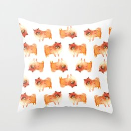 Pomeranian, pom puppy Throw Pillow