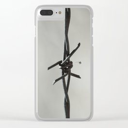 Spider on Barbed Wire in Black and White Clear iPhone Case