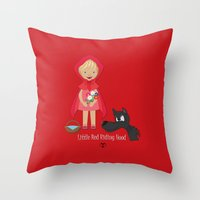 red riding hood Throw Pillows featuring Little Red Riding hood by MyimagesArt