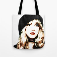 stevie nicks Tote Bags featuring Stevie Nicks - Rhiannon - Pop Art by William Cuccio aka WCSmack