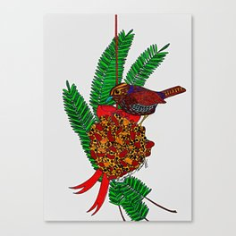 Little Bird In Evergreen Boughs Canvas Print