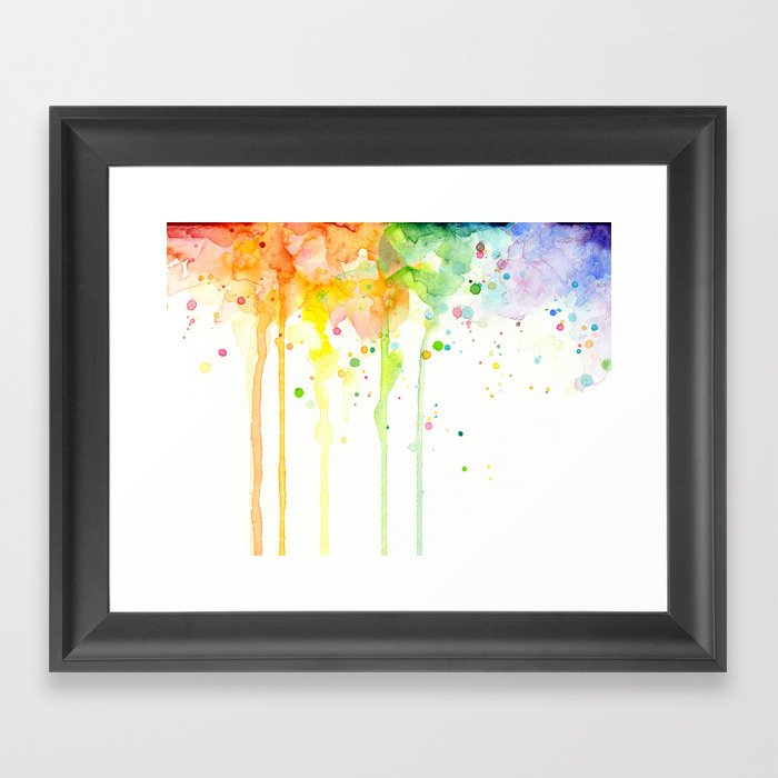 Watercolor Rainbow Splatters Abstract Texture Gerahmter Kunstdruck