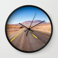 chile Wall Clocks featuring Route 27, Atacama - Chile by klausbalzano