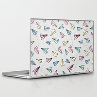 airplanes Laptop & iPad Skins featuring Paper Planes in Pastel by Tangerine-Tane