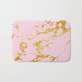 Luxury and glamorous gold glitter on lovely girly pink marble Bath Mat