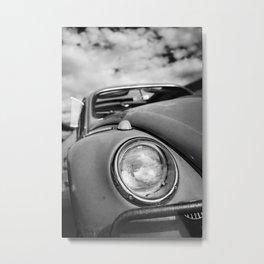 Classic Hippie Car, Photo, Black and White Metal Print