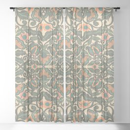 Green Vines Folk Art Flowers Pattern Sheer Curtain