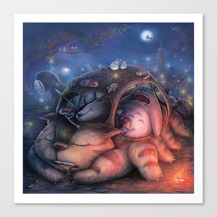 Ghibli Sleepover Canvas Print