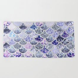Purple and Ultra Violet Trendy Glitter Mermaid Scales Beach Towel