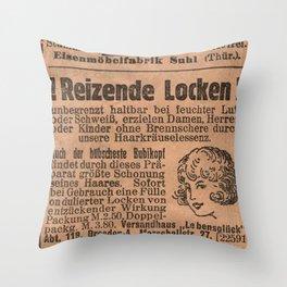Funny German Vintage Advertising Reizende Locken Throw Pillow