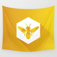 polygon Wall Tapestries featuring Polygon Bee by Eyecatcher Productions