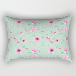 Fushia and Jade Floral Rectangular Pillow