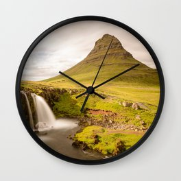KIRKJUFELL MOUNTAIN & WATERFALL IN SUMMER ICELAND LANDSCAPE Wall Clock