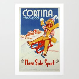 Cortina Vintage Italian travel winter sport Art Print