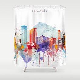 Colorful Honolulu skyline design, Hawaii cityscape Shower Curtain