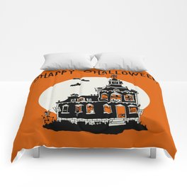 Vintage Style Haunted House - Happy Halloween Comforters