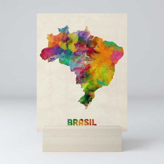 Brazil Watercolor Map by artpause