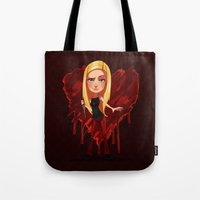 buffy Tote Bags featuring Buffy the Heart Slayer by Isaiah K. Stephens