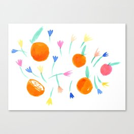 Oranges and Flowers Canvas Print