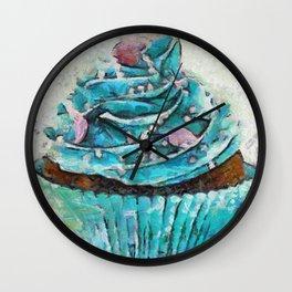 Blue Cupcake Wall Clock