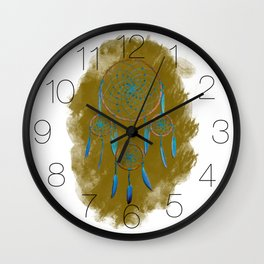 Dreamcatcher Turquoise: Sand background Wall Clock