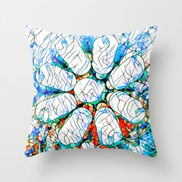 Glass stain mosaic 6 - octa - by Brian Vegas Throw Pillow