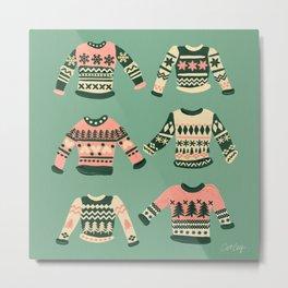 Christmas Sweaters – Vintage Blush Mint Palette Metal Print